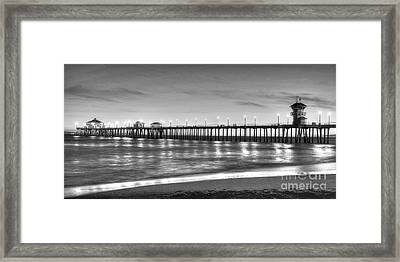 Huntington Beach Pier Twilight - Black And White Framed Print