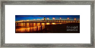 Huntington Beach Pier Twilight Panoramic Framed Print