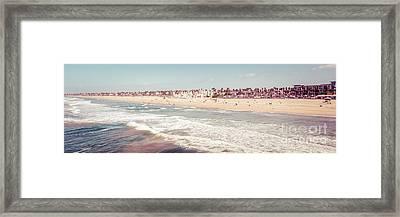 Huntington Beach Retro Panorama Photo Framed Print by Paul Velgos