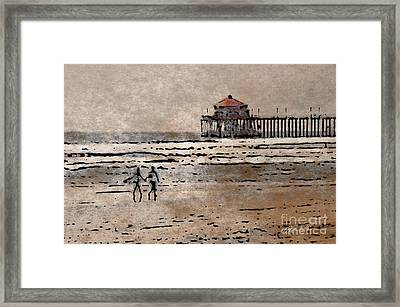 Huntington Beach Surfers Framed Print