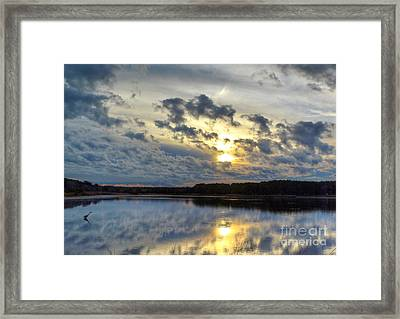 Huntington Sunset Reflection Framed Print