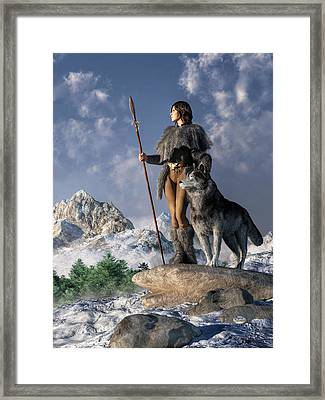Huntress And Wolf Framed Print