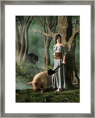 Huon The Truffle Hog Framed Print by Daniel Eskridge