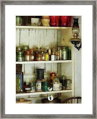 Hurricane Lamp In Pantry Framed Print