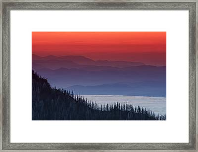 Hurricane Ridge Sunset Framed Print