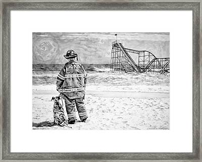 Hurricane Sandy Black And White Framed Print