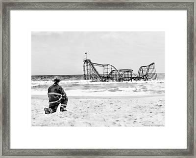 Hurricane Sandy Fireman Black And White Framed Print by Jessica Cirz