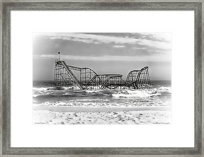 Hurricane Sandy Jetstar Roller Coaster Black And White Framed Print