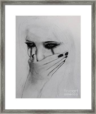 Framed Print featuring the drawing Hurt by Michael Cross