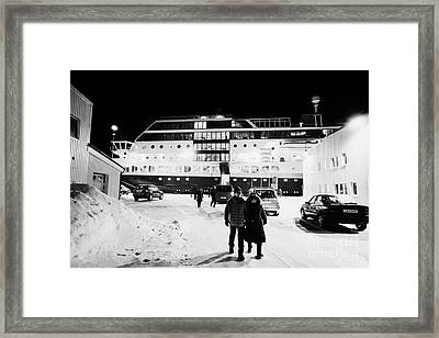Hurtigruten Mv Midnatsol Ship Calling At Night In Vardo Finnmark Norway Europe Framed Print by Joe Fox