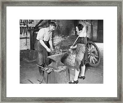 Husband & Wife Blacksmiths Framed Print by Underwood Archives
