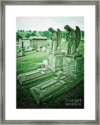 Husband And Wife Angel Gravestones Framed Print by Amy Cicconi