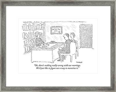 Husband And Wife Sitting At The Desk Framed Print by Robert Mankoff