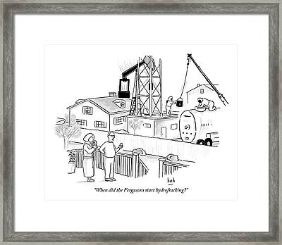 Husband And Wife Standing On Their Porch Looking Framed Print by Bob Eckstein