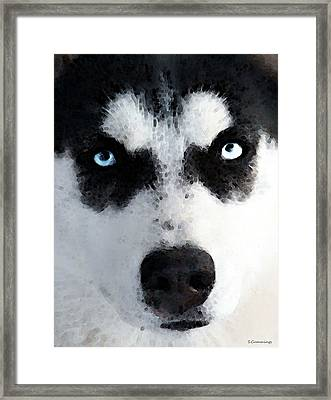 Husky Dog Art - Bat Man Framed Print by Sharon Cummings