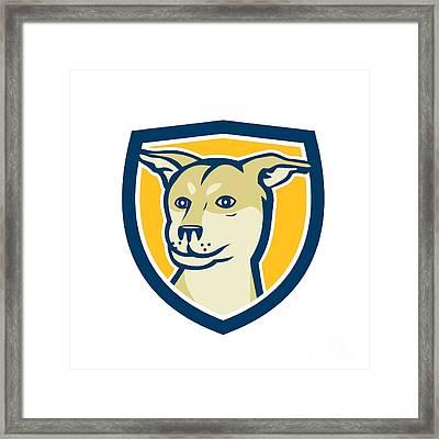 Husky Shar Pei Cross Dog Head Shield Cartoon Framed Print by Aloysius Patrimonio