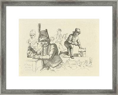Hussar With Glass And Bottle On A Table, A Cobbler Framed Print by Quint Lox