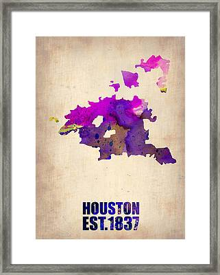 Huston Watercolor Map Framed Print