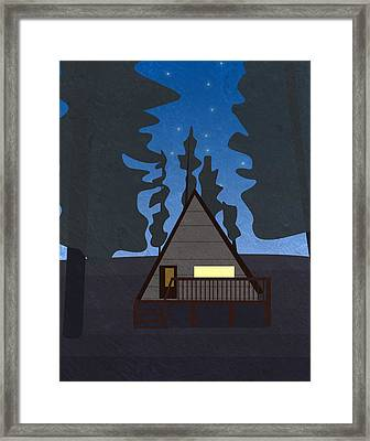 Hut In A Forest At Night Framed Print