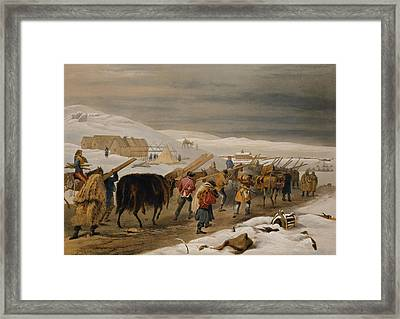 Huts And Warm Clothing For The Army Framed Print by William 'Crimea' Simpson