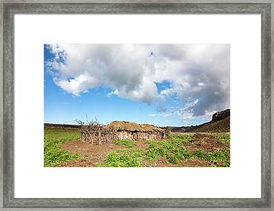 Huts Of Local Oromo Nomads At Keyrensa Framed Print by Martin Zwick