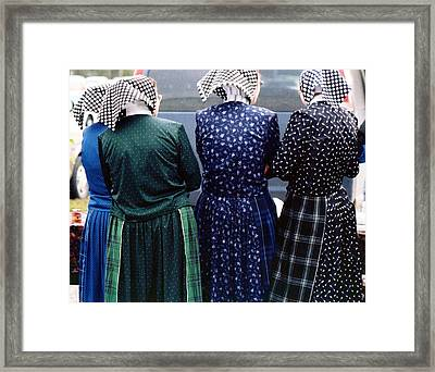 Hutterite Women At The Market Framed Print