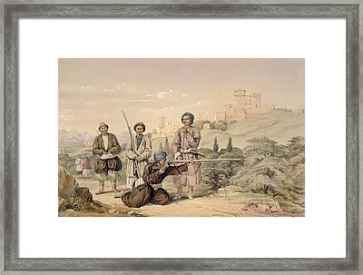 Huzzarehs Firing With Juzzaeels Framed Print by Louis Hague