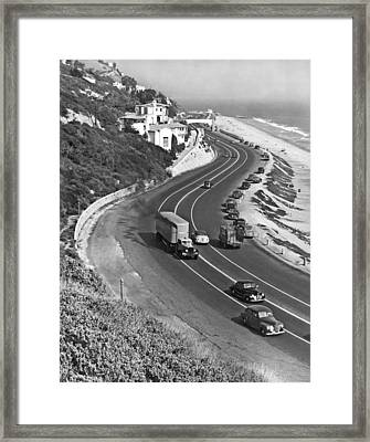 Hwy 101 In Southern California Framed Print by Underwood Archives