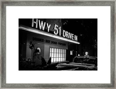 Hwy 51 Drive-in Framed Print