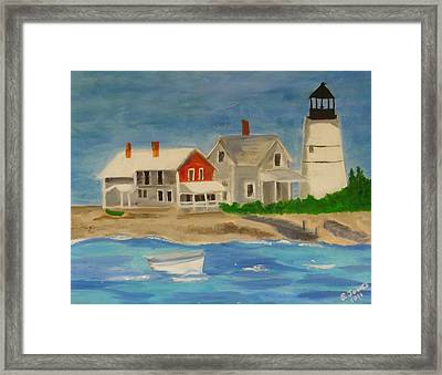 Hyannis Lighthouse Framed Print by Sally Jones