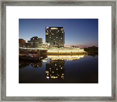 Hyatt Hotel At Dusk, Media Harbour Framed Print