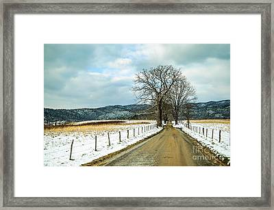 Hyatt Lane In Snow Framed Print by Debbie Green
