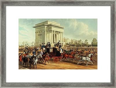 Hyde Park Corner, After James Pollard, Published By Ackermann, 1836 Aquatint Framed Print by English School