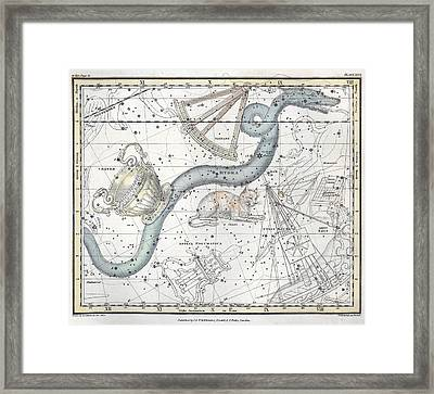 Hydra Constellation, 1822 Framed Print by U.S. Naval Observatory Library