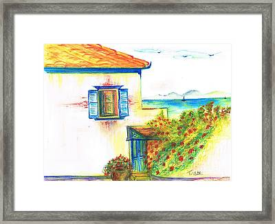 Framed Print featuring the painting Greek Island Hydra- Home by Teresa White