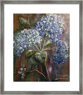 Hydrangea Bouquet At Dawn Framed Print by Eloise Schneider
