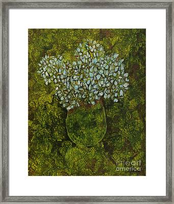Hydrangea In Green Framed Print by Michael Ciccotello