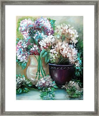 Framed Print featuring the painting Hydrangea Melody by Patrice Torrillo