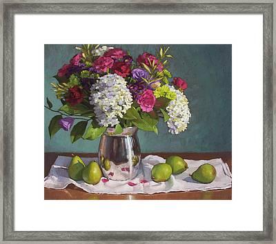 Hydrangeas And Pears Framed Print