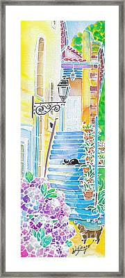 Hydrangeas And The Hotel Framed Print