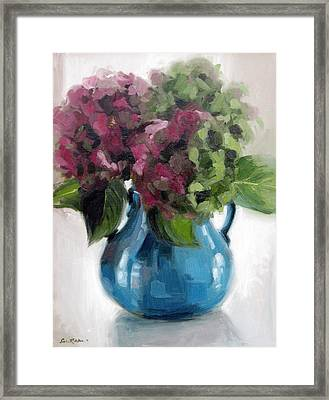 Hydrangeas In Blue Vase Framed Print