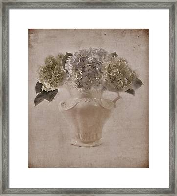 Framed Print featuring the photograph Hydrangeas In Cream Pitcher by Sandra Foster