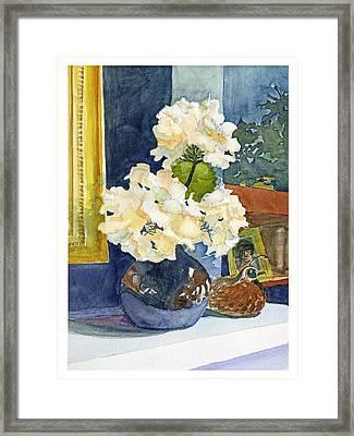 Hydrangeas On Mantle Framed Print