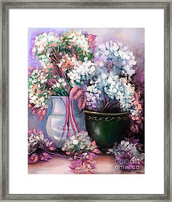 Framed Print featuring the painting Hydrangeas Still Life Pink by Patrice Torrillo