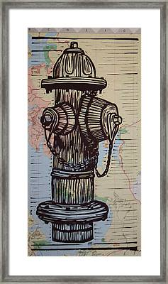Hydrant On Map Framed Print by William Cauthern