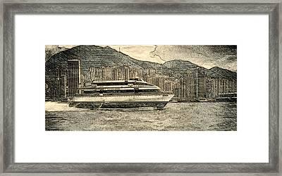 Hydrofiol Ferry In Hong Kong Framed Print by Pamela Blayney