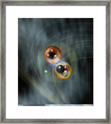 Hydrogen Atom, Conceptual Model Framed Print by Science Photo Library