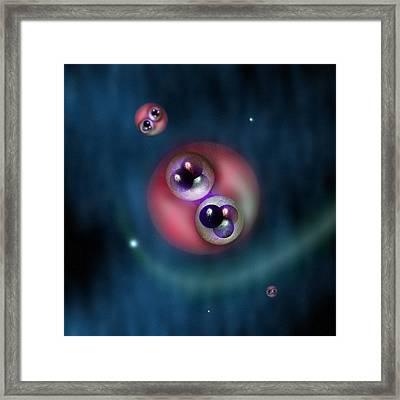 Hydrogen Atoms, Conceptual Model Framed Print by Science Photo Library