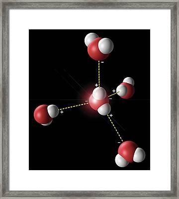 Hydrogen Bonding In Water Framed Print by Carlos Clarivan