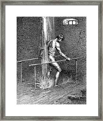 Hydrotherapy, Shower, 1860s Framed Print